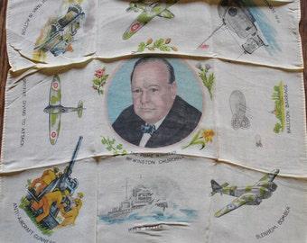 Rare Winston Churchill WW2 Silk Scarf