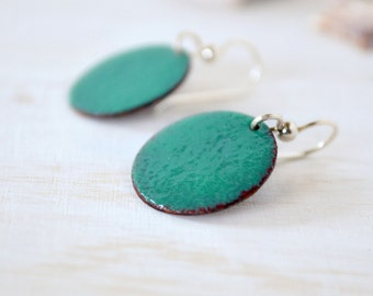 Dangle enamel earrings - teal green earrings round - sterling silver earwire -  handmade jewelry by Alery