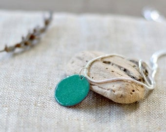 Enamel pendant - small dainty necklace - teal green necklace - round pendant - handmade jewelry by Alery