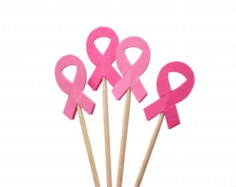 24 Breast Cancer Awareness Pink Ribbon Cupcake Toppers, Toothpicks, Food Picks, Support Ribbon - No1053