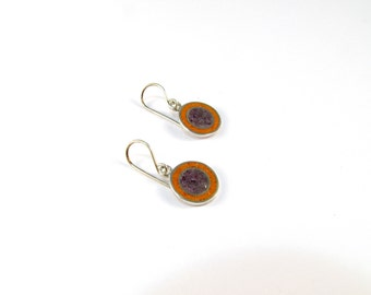 Sterling Silver Earrings, Colorful Circles, Purple and Orange, Modern, Contemporary