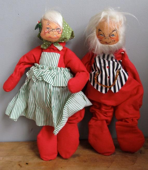 Vintage 1966 Annalee Mobilitee Dolls 18 Mr & Mrs Santa