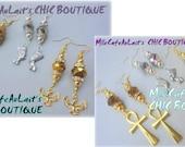 Eqytpian Goddess Charms, Rhinestone Czech Crystal Dangle Earrings- GOOD LUCK GODDESS