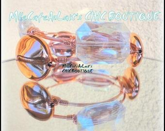 Rose Gold Copper Wire Wrapped Bangle Bracelet Set - COPPER SPOT