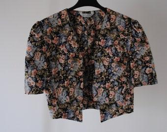 80s Vintage Flower Bolero Jacket Laura Ashley