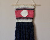 Small Weaving Wall Hanging Woven Textile; Blue, Cream, Fuschia, Pink