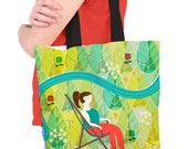 Tote Bag with Peaceful Garden Retro Style Nature Illustration