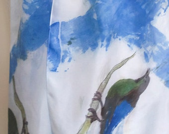 Birds on Olympian Blue Lattice Hand Painted Silk Scarf