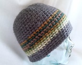 Grey Camo Striped Crochet Beanie Hat