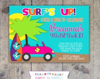 SURFER GIRL Birthday Invitation 5x7 - Printable