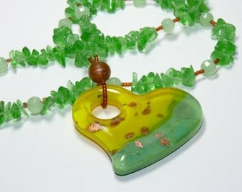 Green/Yellow/Copper Heart Pendant with Light Emerald and Mint Alabaster & Copper Handmade Beaded Necklace