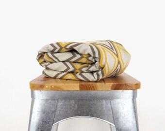 Gray and yellow baby blanket | Mustard geometric diamond print | Nursery decor for kids | Throw blanket toddler and children | Shower gift