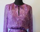 Beautiful 1970's Purple Butterfly Wing Chiffon maxi dress - Size US 8
