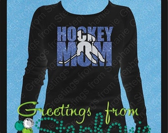 Hockey Mom T-Shirt done in Glitter Vinyl (4 styles to choose from)