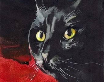 Print of the Original Watercolor Painting Black Cute Cat Kitty Kitten Sweet Halloween