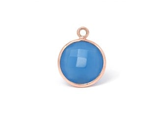 18Kt Rose Gold Plated Sterling Silver 14mm faceted Blue Chalcedony pendants - 1pc Good Quality Wholesale price (6972)/1