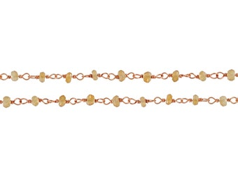 Rose Gold Plated Sterling Silver 2.5mm faceted light Citrine Rosary chain - 10ft (6850-10) 20% discounted High quality
