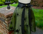 Halloween Hostess Apron - Arachnophilia in Green