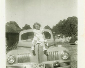 "Vintage Photo ""Cutest Hood Ornament"" Classic Car Snapshot Photo Old Antique Photo Black & White Photograph Found Photo Paper Ephemera - 24"