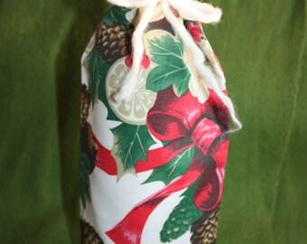 Wine Bottle Bag - Fabric Reusable - Medium Size Gorgeous Gift Bag