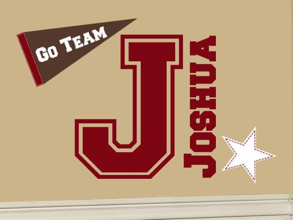 Varsity Letter Decal Personalized Name with Banner and Star Sports Decal Sticker