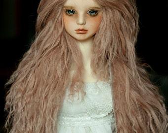 "10in"" Long Light Brown Tibetan Mohair Wavy Wig for Volks BJD SD Dolls"