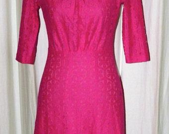 Sweaty Candy Pink - 1960s Retro - Lace Short 3/4 Sleeve Gathered Waist Boat neck Sheath Dress - Custom Sizing - ORT274 - Blue Availble