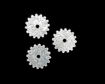 Steampunk FILIGREE FLORAL Cog Gears in Silver Plated Brass 16mm Qty 3 Lot Assemblage Altered Art Made in the USA