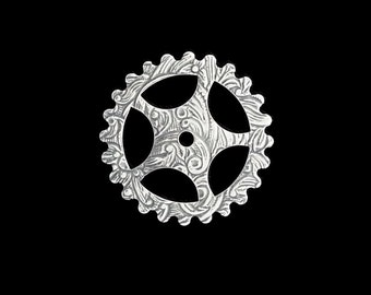 Steampunk FILIGREE FLORAL Gears in Silver Plated Brass 25mm Qty 1 Assemblage Altered Art Made in the USA