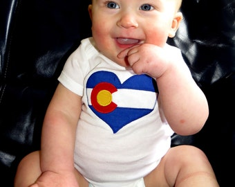 SALE! I Heart Colorado ~ Baby Onesie, newborn - 24 months, made from recycled materials