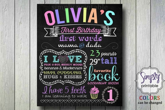 1st Birthday Poster, Printable Digital File, Chalkboard Rainbow