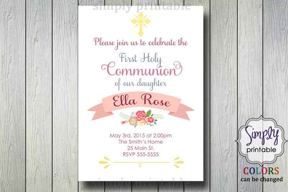 Communion/Christening Invitations with flowers