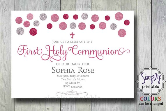 Baptism/Communion Pink Grey Sparkly