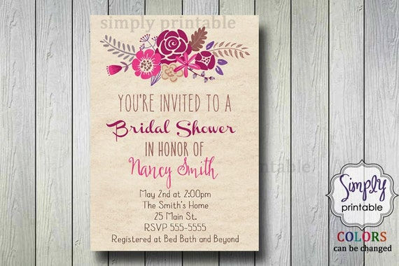 Floral Rustic Bridal Shower Invite (Printable)