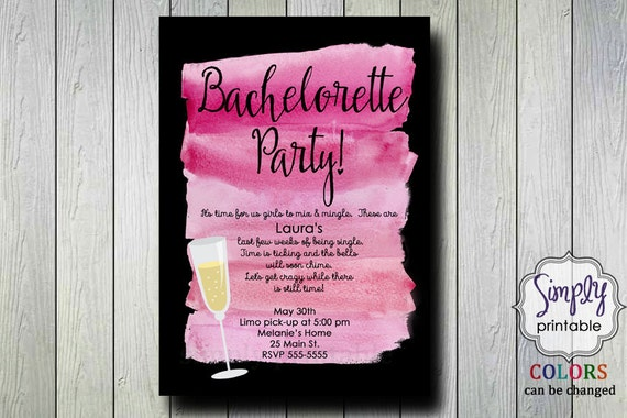 Bachelorette Party Invitation Watercolor