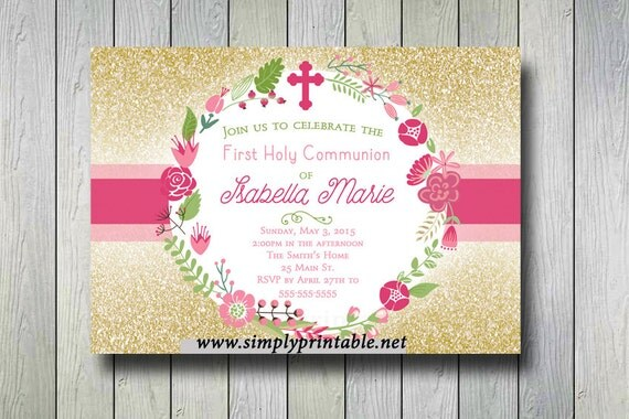 Gold Pink Baptism/Communion Digital Invitation, Glitter Christening Invitation