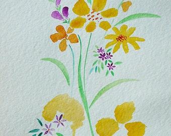 watercolour flowers bright cheerful original painting art cards woodblock yellow orange sunshine colours splash syamarts