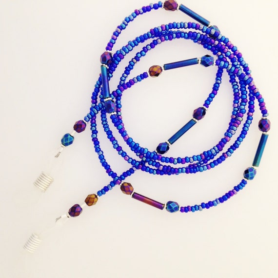 Cobalt Blue Carnival Glass Glasses Eyeglass Chain