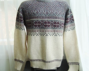 Men's Fair Isle Sweater, Wool Blend, By McGregor, Size Medium to Large