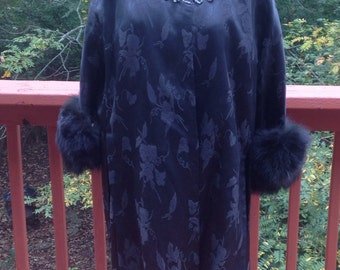 Mid Century black sequined and faux fur damask coat with matching dress. 1960s Mad Men. 2 Piece formal outfit. Ricardi Josephi design.