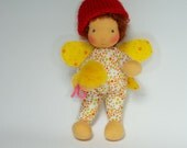 """SALE  Sunny Elf, Waldorf Inspired Doll, 9"""", OOAK Doll, Soft Toy  by Atelier Lavendel, ECO friendly"""