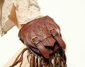 SALE-Leather Utility Belt with Large Pouch Bag and Leather Fringe Trim