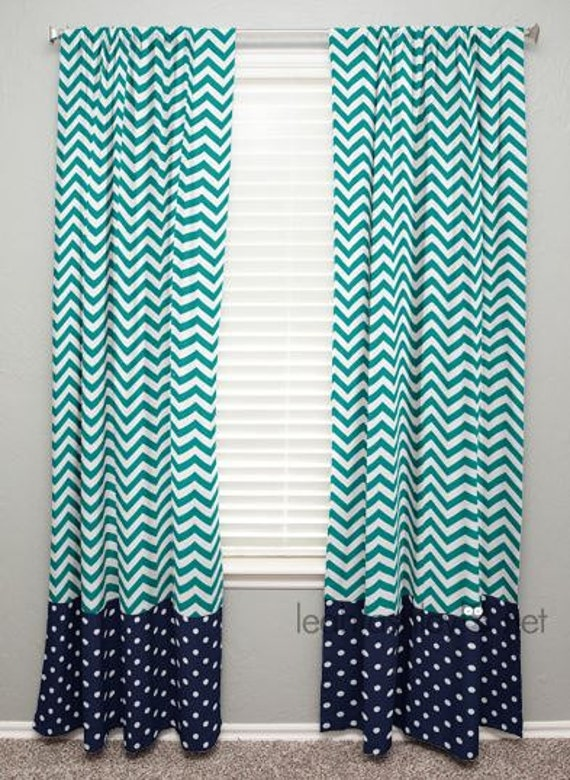 curtain panel with banding teal chevron navy by leahashleyokc