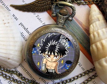 Yu Yu Hakusho YYH Urameshi Yusuke Yuusuke Yoko Kurama Hiei Young Genkai necklace pendant bronze antique pocket watch  keychain key chain