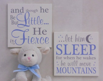 And though he be but little he is fierce / let him sleep for when he wakes he will move mountain | Blue & Gray Baby Boy Nursery Sign Saying