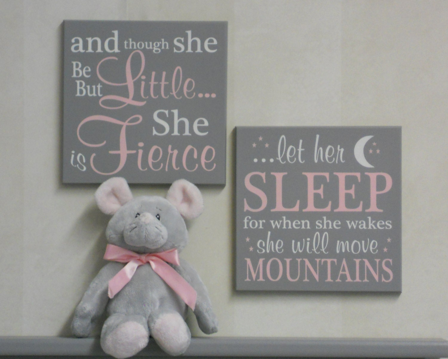 Pink and gray baby girl nursery signs and though by for Signs for little girl rooms