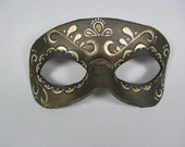 Day of the Dead Gold Swirl Accented Leather Mask, Unisex