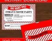 Movie Invitation DIY Printable Kit - INSTANT DOWNLOAD