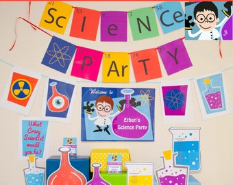 Science Party Decorations & Props Printable Kit - INSTANT DOWNLOAD - Boy Black Hair