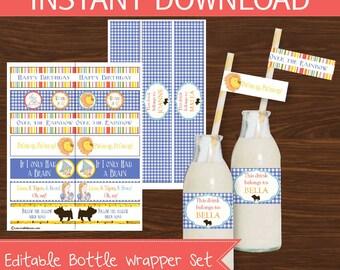 Wizard of Oz Bottle Wrapper DIY Printable Kit - INSTANT DOWNLOAD -